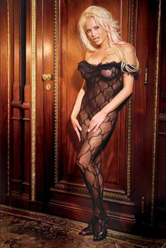 Elegant Moments Bow pattern lace open crotch bodystocking with a ruffle top 1607