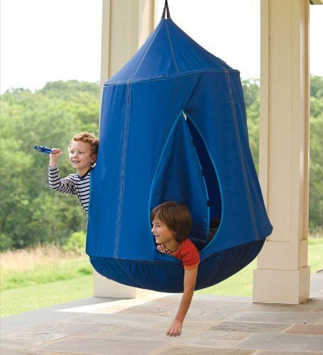 HearthSong Nylon Canvas HugglePod HangOut with LED Lights, in Blue