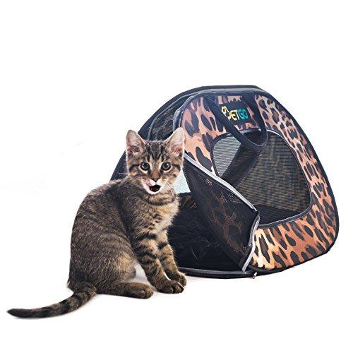 Cat Carrier Soft Sided Easy Loading Cat Carrier Bag - Sturdy and Folds Flat for Large Cats and Small Dogs - Pet Carriers for Cats - Leopard Cat Carrier by Parent Geniuses