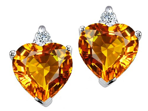 Citrine and Diamonds Heart Shape Earrings in White Gold