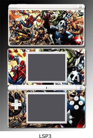 Spiderman Captain America Comic Vinyl Decal Cover Skin Protector 3 for Nintendo DS Lite