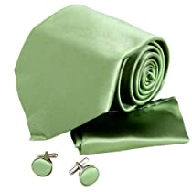 H5069 Green Plain Perfect Presents Idea For Travel Ties For Men Silk Cufflinks Hanky Set 3PT By Y&G