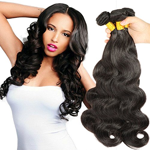 [Beautyplus Hair Unprocessed Virgin Human Hair Extensions Body Wave Kinky Curls Sexy Long Hair Natural Black Color 3 Bundles (14 14 14] (Wild Curl Black Wig)