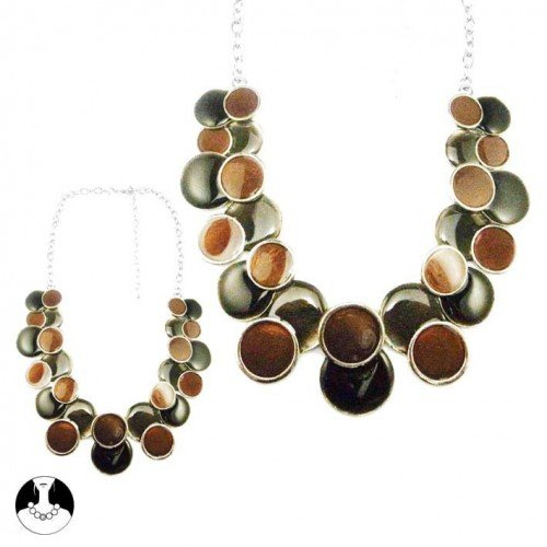 SG Paris Necklace 45cm+Ext Rho Black Grey Brown Multicouleur Necklace Necklace Enamel/Metal Winter Women Fashion Metal Fashion Jewelry / Hair Accessories Circle