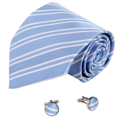 A1035 Royal Blue Stripes Formal Wear Gift Mens Discount For Dress Silk Tie Cufflinks Set 2PT By Y&G