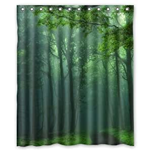 Green trees in the forest shower curtain 60 x - Forest green shower curtain ...