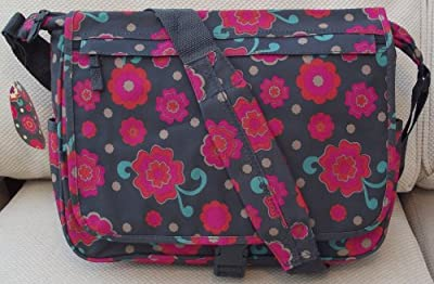 A4 folder Size Courier or sling style messenger bag Modern pink flowers desgin travel cabin or hand luggage school
