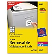 Removable Inkjet/Laser ID Labels, 3-1/3 x 4, White, 150/Pack