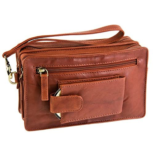 Visconti Mens Compact Soft Leather Mobile   Wrist Handbag Bag - (18233)