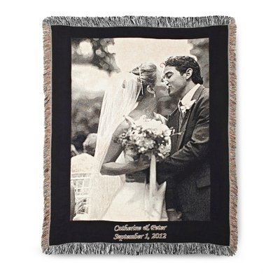 Personalized Black And White Photo Throw - Portrait front-491046