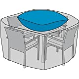 Duck Covers Elite Square Patio Table & Chair Set Cover with Inflatable Airbag to Prevent Pooling, 92-Inch
