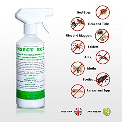 Insect Eco Pest Control Organic Natural Home Pest Control Spray - Kills & Repels, Bed Bugs, Fleas, Ticks, Roaches, Spiders, Flying Insects and Other Pests Guaranteed - All Natural Insect Killer - Kills On Contact - Child & Pet Safe - Non Staining - Indoor