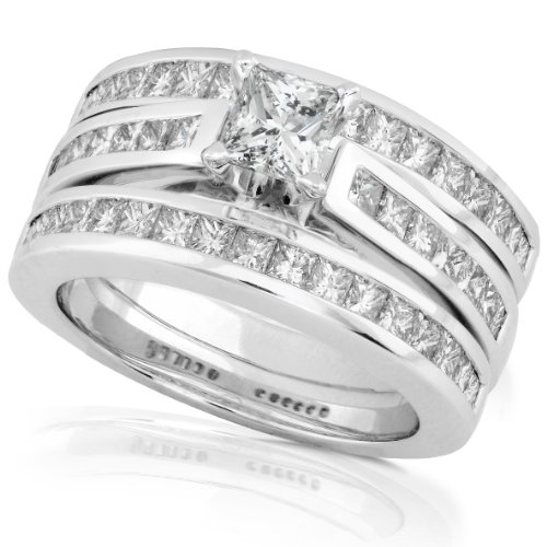 2ct TW Princess Diamond Bridal Set in 14k White Gold (3 Piece Set)