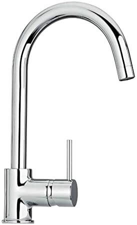 Jewel Faucets Single Hole Kitchen Faucet w Goose Neck Spout (Flash Black)