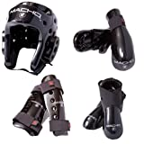 Macho Dyna 7 piece sparring gear set with shin guards black adult large