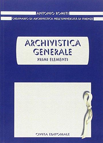 Archivistica generale Primi elementi PDF