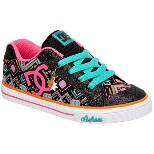Dc Chelsea Charm Tx Fashion Sneaker (Little Kid/Big Kid),Black/Aegean,12 M Us Little Kid