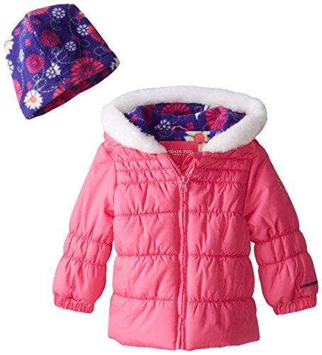 London Fog Baby Girls Chic Puffer, Pink, 12 Months