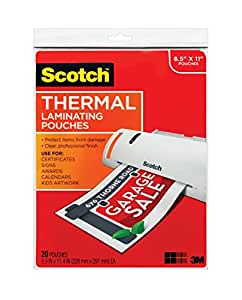Scotch Thermal Laminating Pouches, 8.9 x 11.4-Inches, 3 mil thick, 20-Pack (TP3854-20)