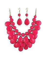 Crunchy Fashion Pink Tear Drop Necklace Set
