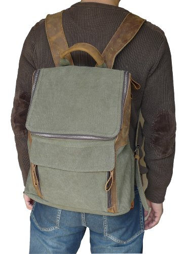 Otium 21109AMG Leisure Canvas Genuine Leather Bagpack Backpack, Army Green