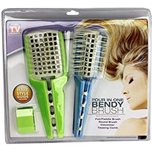 Four in One Bendy Brush Includes Flat Brush, Round Brush, Volumizer, Teasing Comb - As Seen on Tv