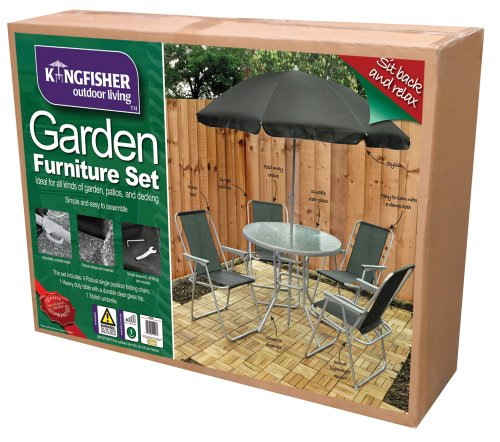 6 Piece Garden Furniture, Patio Set inc. Chairs, Table & Umbrella