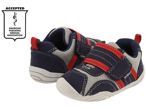 New Pediped Grip N Go Adrian Navy Grey Red Light Sneakers Toddler Boys Athletic Shoes front-407806