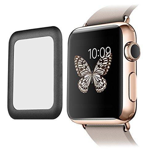 Premium Real 0.2mm Temperato Glass Screen Film Protector with Full Cover Metallo Bordo per Apple Watch (42mm) - Noir