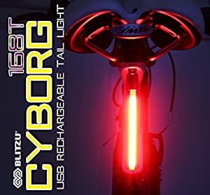 ULTRA BRIGHT Bike Light Blitzu Cyborg 168T USB Rechargeable Tail Light. RED High Intensity Rear LED Accessories Fits on any Bicycles, Helmets, Waterproof. Easy To install for Cycling Safety Flashlight by Blitzu