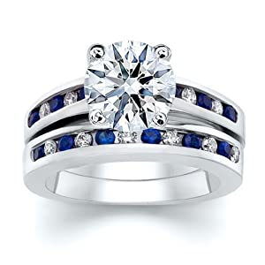 3.51 ct Round Diamond W Round Blue Sapphire Ring Set