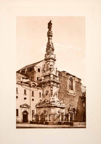 1901 Photogravure Guglia Della Concezione Baroque Spire Church Gesu Architecture - Original Photogravure front-1054607