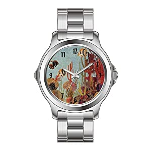 FYD Watch Man's Fashion Stainless Steel Band Watch Vintage Coral And Tropical Angelfish Fish In Ocean Wrist Watches