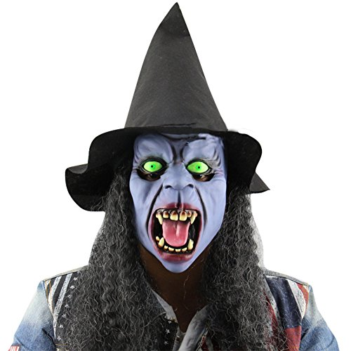 [Ashlen Adults Scary Witch Costume Halloween Mask with Hat and Hair] (Adult Witch Mask With Hat And Hair)