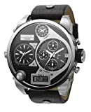 Diesel Watches Men's Black SBA Oversized Ana-Digi Black and Silver Dial Watch
