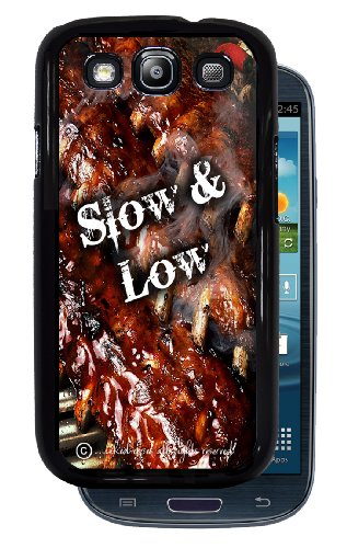 Slow & Low BBQ Ribs - Black Protective Rubber Cover Samsung Galaxy S3 I9300 Phone