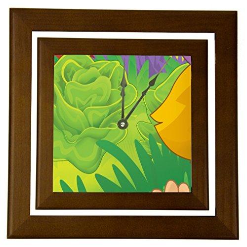 "Rikki Knighttm Cute Girl Cartoon With Farm Vegetables Design 6"" Wood Framed Art Wall Clocks Desk Clocks front-644033"