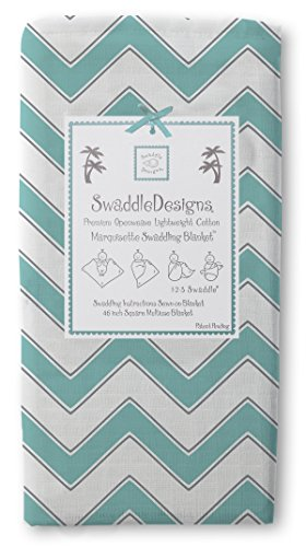 Swaddledesigns Marquisette Swaddling Blanket, Chevron, Turquoise