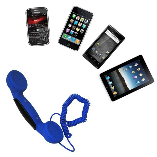 Gsi Quality Retro Pop Handset With Volume Control For Apple Iphone 3/4/4S, Ipod, Ipad, Droid Smartphone, Blackberry, Samsung Galaxy S, Etc. - Connect To Computer For Skype And Voip Calls - Blue