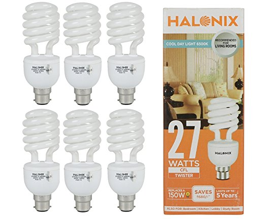 Halonix 27W B22 CFL Bulb (Cool Day Light, Pack Of 6) Image