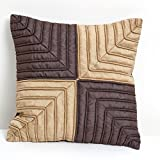 A S Traders Designer Cushion Cover Dupion Base Fabric with Cotton Cord Stitched in it(40 Cm x 40 Cm, Chocolate...