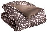 Royal Opulance Woven Satin Comforter Mini Set Giraffe, Brown/Ivory, Twin