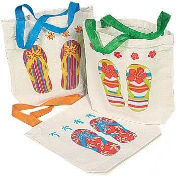 "Canvas Flip Flop Tote Bags. Multicolor  8"" X 2 1/2"" X 8 1/2"""