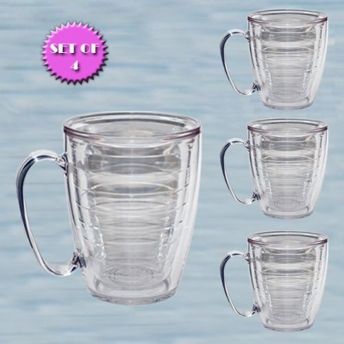 Tervis New Premium 15 oz. Clear Mug Set of 4 – BPA FREE