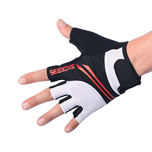 Men Women Breathable Mesh Non-Slip Foam Padded Half Finger Short Gloves for Cycling Mountain Bike Road Racing Bicycle Riding Motorcycle Driving Daily Use (Black White, M)