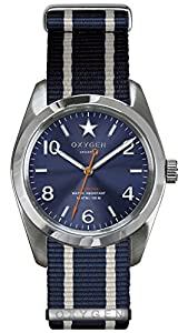 OXYGEN Boston 38 unisex quartz Watch with blue Dial analogue Display and blue nylon Strap EX-S-BOS-38-NN-NAIVNA