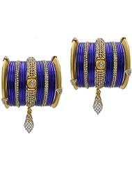 Blue Bridal Chura Jhumka Wedding Bangles Chuda By My Design(size-2.4)