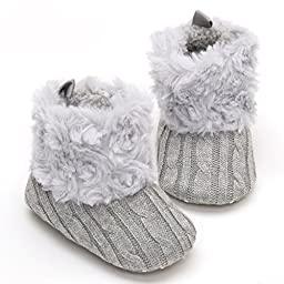 LiveBox Infant Baby Cotton Knit Premium Soft Sole Anti-Slip Mid Calf Warm Winter Prewalker Toddler Boots (M: 6~12 months, Grey)
