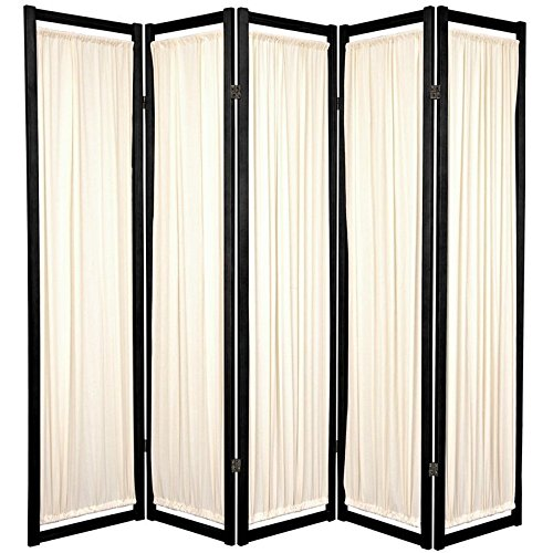 Oriental Furniture Modern Furniture, 6-Feet Helsinki Fabric Japanese Privacy Screen Room Divider, 5 Panel Black