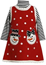Bonnie Jean Girls Christmas Snowman Holiday Jumper Dress Set, Red, 6-9 Months